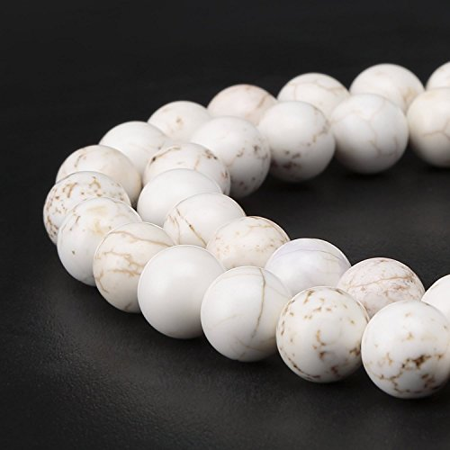 2 Strands Natural White Howlite Gemstone 8mm Round Loose Beads For Jewelry Making 15.5