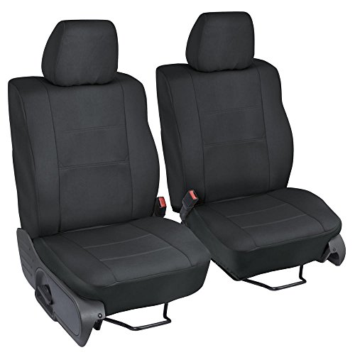Motor Trend TS 202 BK Poly Custom Seat Covers For Ford F 150 Crew 04 08 Single Bucket Easy Wrap Cloth In Black