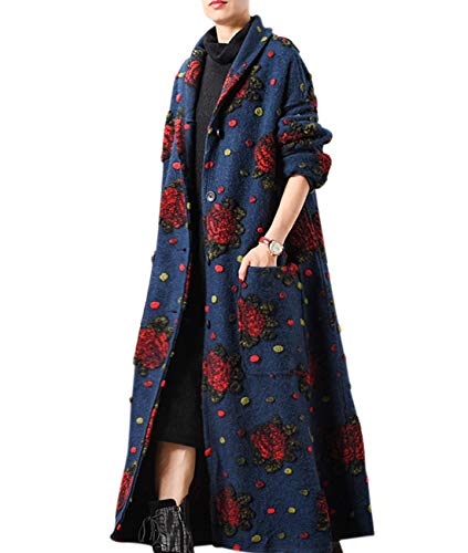 YESNO JFK Women Fashion Long Maxi Wool Coat Shawl Collar Long Sleeve Single Breasted 3 Dimension Flower Jacquarded Large Loose Skirt/Pockets -