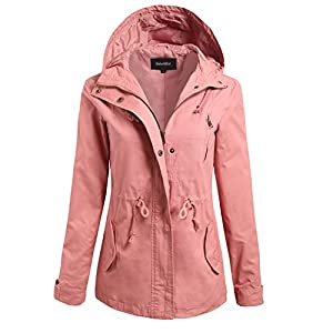 makeitmint Women's Anorak Military Jacket Jumper With Hood Small YJH0006_Mauve