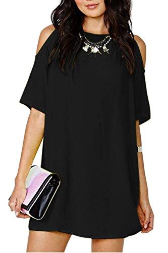Casual suelta salida hueco de la mujer vestido de cambio Black