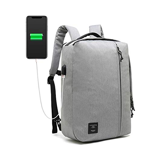 """Bebamour Mens Laptop Backpack Casual Daypack 3 Way Travel Backpack 20L Flight Approved Weekender Carry on Backpack fits up to 15""""Laptop Pack,Business Backpack with USB Charging Port, Grey"""