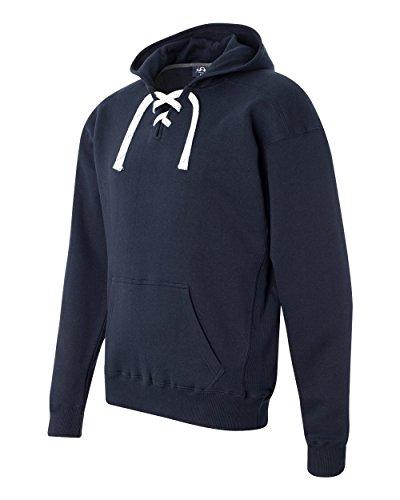 Hockey Hoody Lace - Navy Hockey Hood Sweatshirt: 80% Ringspun Cotton, 20% Polyester Fleece Fabric.,Navy,Small