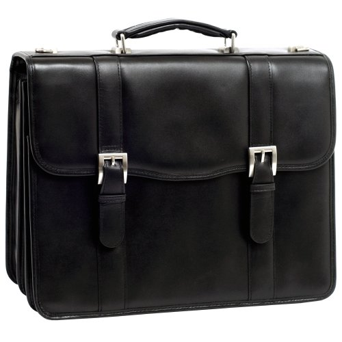 McKleinUSA FLOURNOY 85955 Black Leather Double Compartment Laptop Case, Bags Central