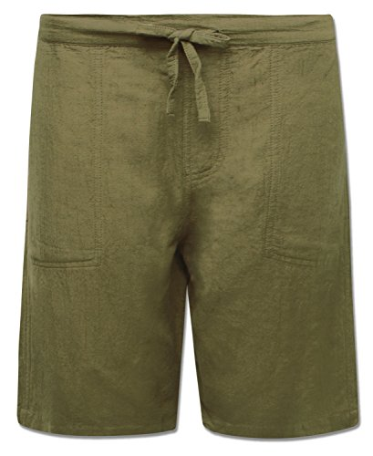 Soul Flower Men's Hemp Yoga Shorts (Small, Moss)