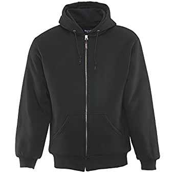 Refrigiwear Men's Insulated Quilted Sweatshirt Hoodie (Black, Small)
