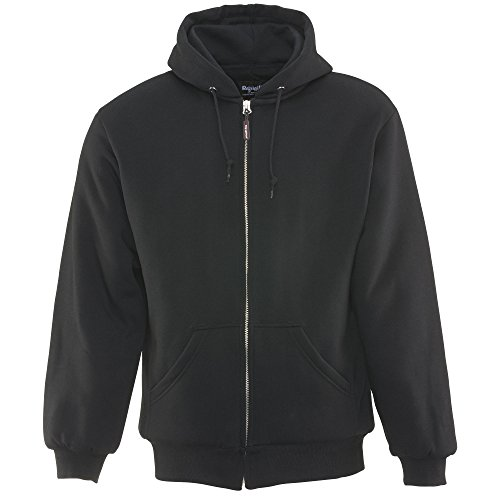 RefrigiWear Jersey Lined Quilted Hooded Sweatshirt - Fiberfill Insulated Hoodie (Black, 3XL)