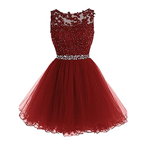 Tideclothes ALAGIRLS Short Beaded Prom Dress Tulle Applique Homecoming Dress Burgundy US6