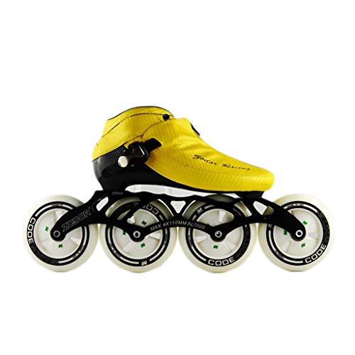 提出する電極高原NUBAOgy インラインスケート、90-110ミリメートル直径の高弾性PUホイール、3色で利用可能な子供のための調整可能なインラインスケート (色 : 黒, サイズ さいず : 35)