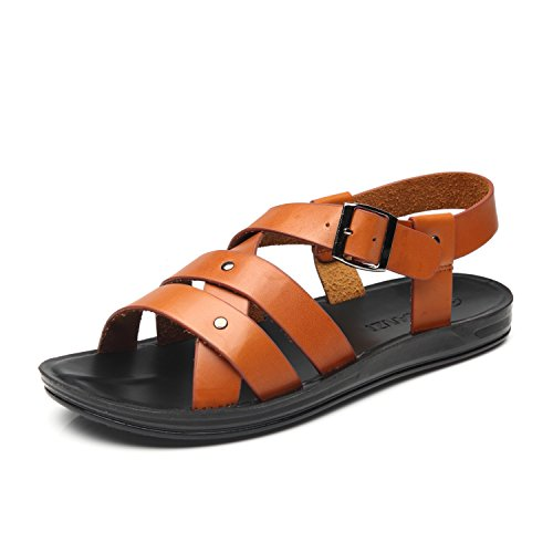 f420473f31a1 Faranzi Mens Sandals of Gladiator Style Leather Open Toe Outdoor Strap Heel  Sandals Fashion Casual Comfortable