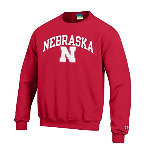 Elite Fan Shop NCAA Nebraska Cornhuskers Men's Team Color Crewneck Sweatshirt, Red, Large