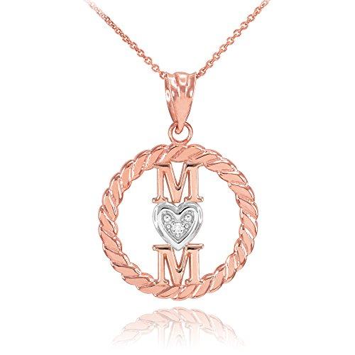 Collier Femme Pendentif 14 Ct Or Rose Côtelé Cercle Mom Amour Cœur avec Diamant (Livré avec une 45cm Chaîne)