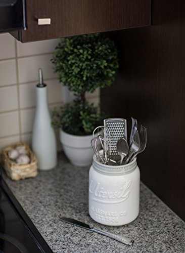 Wide Mouth Mason Jar Utensil Holder by Comfify - Decorative Kitchenware Organizer Crock, Chip Resistant Ceramic - Perfect Cookware Gift - White, Large Size by Comfify (Image #2)