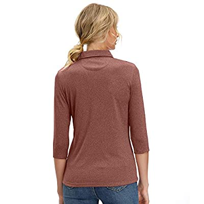 Women's 3/4 Sleeve V Neck Golf Shirts Moisture Wicking Performance Knit Tops Fitness Workout Sports Leisure T-Shirt: Clothing