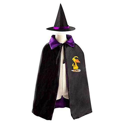 SeVam 3D Yellow Lucky Duck Quacker Kids Two-Sided Cloak Halloween Cosplay Cowl Magic Costume Cape + Witch Hat Boys Girls