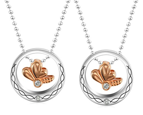 Daesar Hers & Hers Necklace Set Couples Pendant Necklace Stainless Steel Bowknot CZ - Rl And Double Co