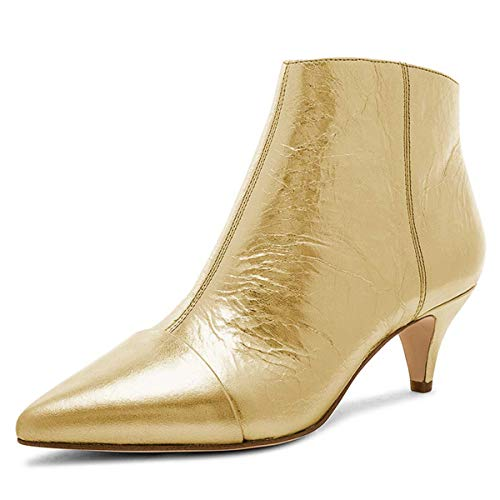 (XYD Women Chic Low Kitten Heels Ankle Boots Pointed Cap Toe Side Zip Up Dress Bootie Shoes Size 6 Gold)