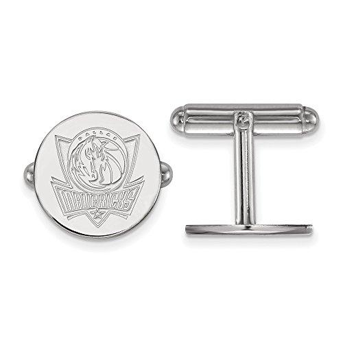 LogoArt NBA Dallas Mavericks Cuff Links in Rhodium Plated Sterling Silver