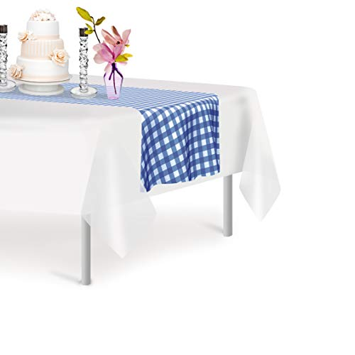 Blue Gingham 12 Pack Checkered Premium Disposable Plastic Table Runner 14 x 108 Inch. Decorative Table Runner for Dinner Parties & Events, Decor By Grandipity