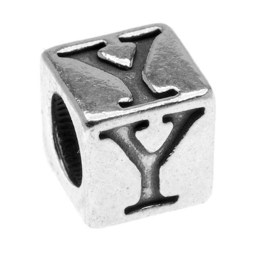 Sterling Silver, Alphabet Cube Bead Letter 'Y' 5.5mm, 1 Piece, Antiqued