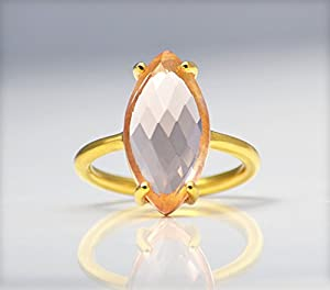 Citrine ring, stackable ring, Vermeil Gold or silver, prong set ring, marquise cut ring, November Birthstone ring, Birthday gift, orange marquise ring