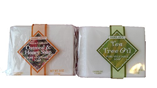 Trader Joe's Next to Godliness Pure Vegetable Bar Soap Cruelty Free Value Bundle - 1 Oatmeal & Honey Scent & 1 Tea Tree Oil Scent (8 Oz. Each) - Pure Vegetable Oil Soap