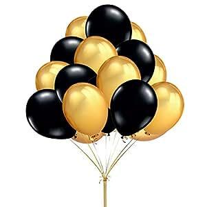 amazon com fecedy 12 100pcs gold black round balloons kitchen