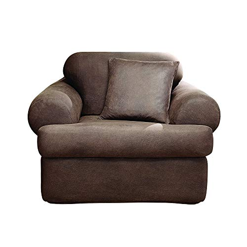 SureFit Stretch Leather 2-Piece - Chair Slipcover - Brown