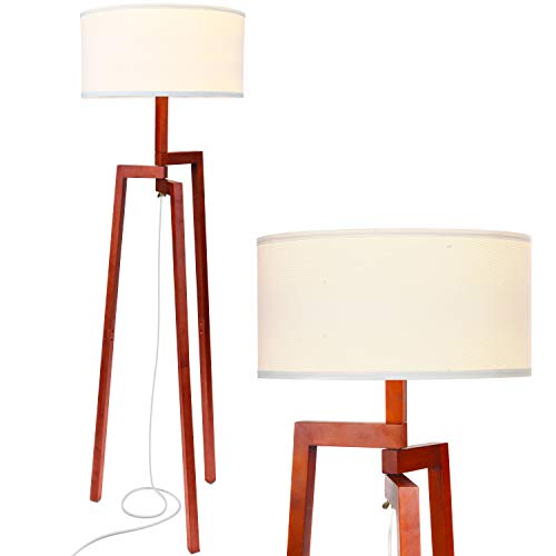 Brightech New Mia LED Tripod Floor Lamp- Modern Design Wood Mid Century Modern Light for Contemporary Living Rooms- Rustic, Tall Standing Lamp for Bedroom, Office- Havana Brown ()