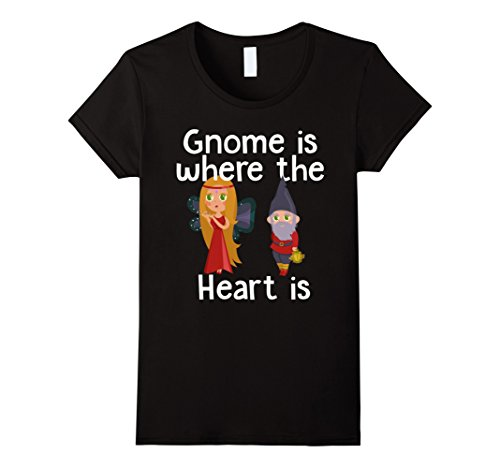 Female Druid Costume (Womens Gnome Is Where The Heart Is Garden Figurines Funny Tee Shirt Small Black)