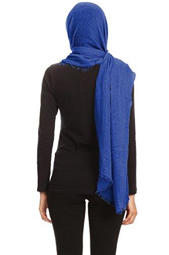 Abeelah Cotton Crinkle Hijab Scarf- Muslim, Indian, African Fashion Compatible (Royal Blue) by Abeelah (Image #4)