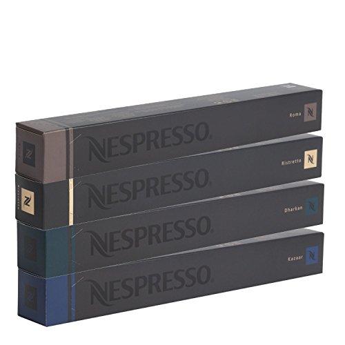 40 Nespresso OriginalLine: Kazaar, Dharkan, Ristretto, Roma