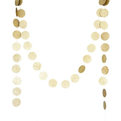 Chloe Elizabeth Circle Dots Paper Party Garland Backdrop - Champagne Gold Glitter
