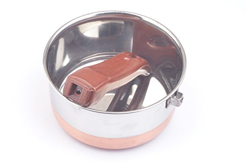 PRC NICKEL FREE Copper Band Stainless Steel 1 QT Sauce Pan (No Toxic Non Stick Coating, 6 Inch) - Cookware Set - Cookware Pots And Pans Set ()