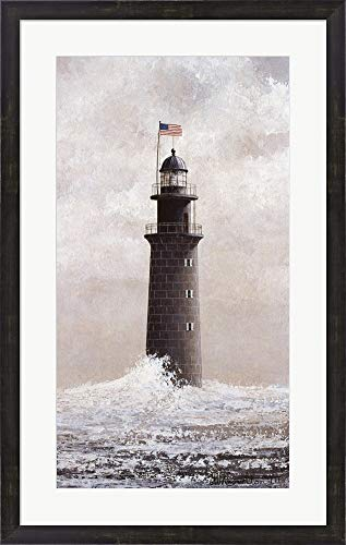 Minot's Light by David Knowlton Framed Art Print Wall Picture, Espresso Brown Frame, 22 x 35 inches