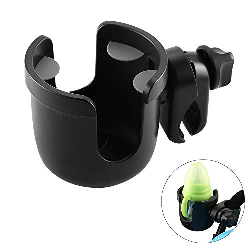 Accmor Universal Cup Holder, Stroller Cup Holder, Large Caliber Designed Cup Holder, Fit for bottle with handle, 360 Degrees Universal Rotation Cup Drink Holder for Baby Stroller, Pushchair Wheelchair (Stroller Drink Holder)