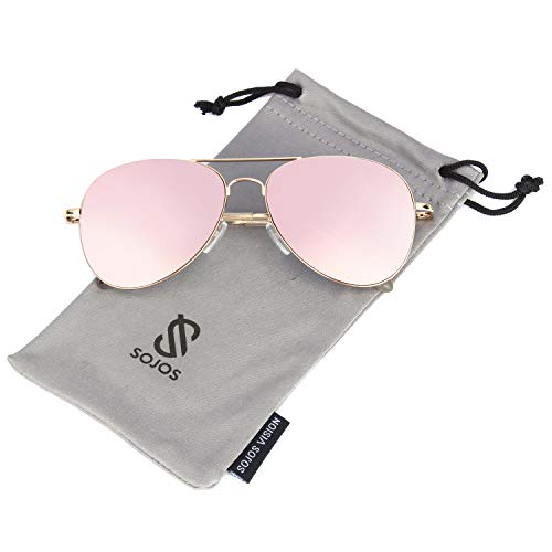 (SOJOS Classic Aviator Mirrored Flat Lens Sunglasses Metal Frame with Spring Hinges SJ1030 with Gold Frame/Pink Mirrored Lens)