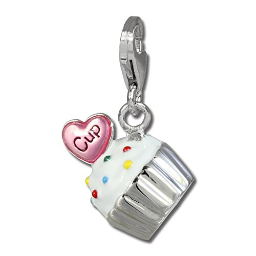 (SilberDream Charm cupcake white and pink enameled 925 Sterling Silver Pendant FC815W)