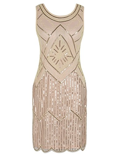 0S Sequined Fringe Beaded Gatsby Flapper Prom Dress XL Champagne (Beaded Dresses Plus Size)