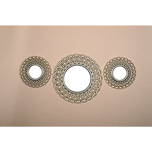 All American Collection All New Seperated 3 Piece Decorative Mirror Set,  Wall Accent Display (Beige Double Chain)
