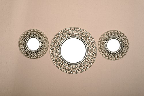 All American Collection All New Seperated 3 Piece Decorative Mirror Set, Wall Accent Display (Beige Double Chain) (Set Of Mirrors For Wall)