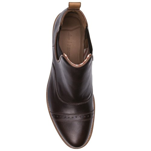 J Shoes Nelson Men's Dark Brown Leather Low Cut Chelsea Boots E8003 hHGOYRw