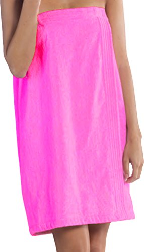 Bath Wraps for Women, Terry Cloth Cotton Womens Cover Up Free Embroidery Fuchsia, S/M Size ()
