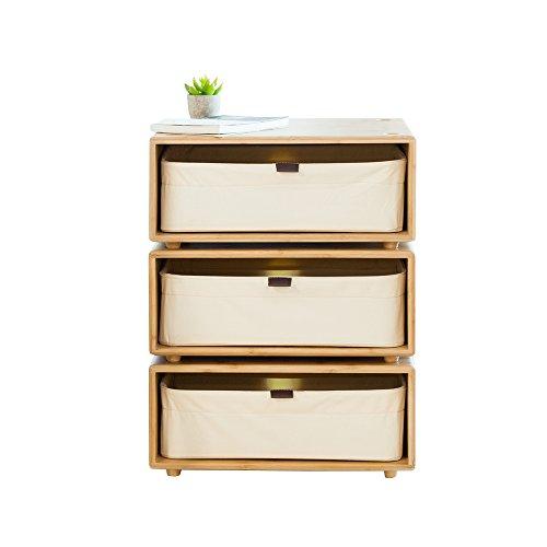 ZEN'S BAMBOO Chest of Drawers Nightstands Freestyle DIY Combine Living Room Home Furniture (Short Legs) ()