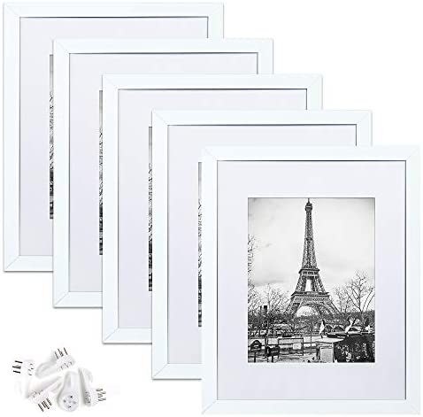 upsimples 11x14 Picture Frame Set of five,Display Pictures 8x10 with Mat or 11x14 Without Mat,Wall Gallery Photo Frames,White