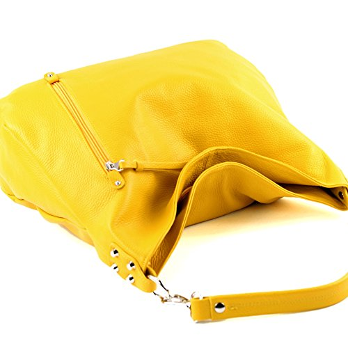 modamoda de - Made in Italy - Bolso al hombro para mujer ver descripción Gelb Leder