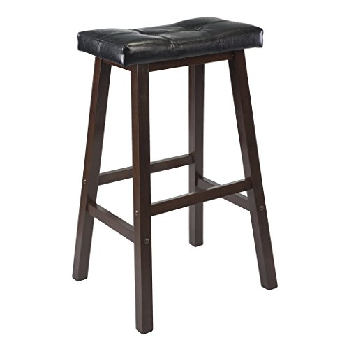 29 Inch Saddle Seat Wood (Winsome Mona 29-Inch Cushion Saddle Seat Stool, Black, Faux Leather, RTA)