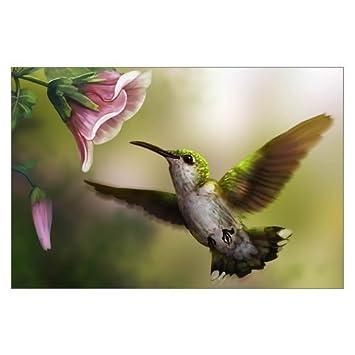 Creative Modern Art Color Print Hummingbird Flowers Painting Canvas Print  Wall Art 18u0026quot; X 12u0026quot