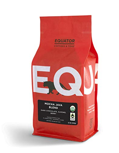 Equator Coffees & Teas Mocha Java Blend, Roasted Whole Bean Coffee, Fair Trade & Organic, 12 oz Bag