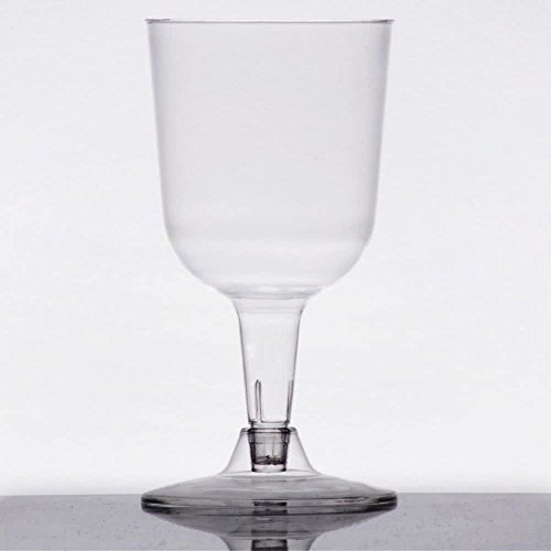 Visions 5 oz. Clear 2-Piece Plastic Wine Goblet - 360/Case